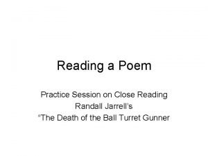 Reading a Poem Practice Session on Close Reading