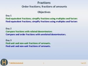 Fractions Order fractions fractions of amounts Objectives Day