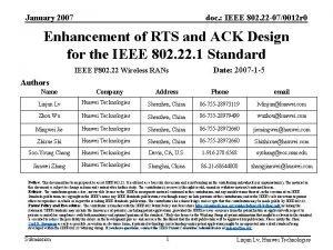 January 2007 doc IEEE 802 22 070012 r