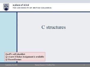 C structures Geoffs selfchecklist q A new i