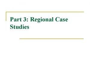 Part 3 Regional Case Studies West Africa West