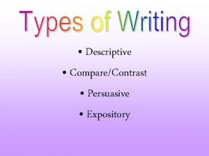 Descriptive CompareContrast Persuasive Expository What Is Expository Writing