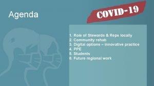 Agenda 1 Role of Stewards Reps locally 2