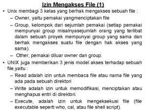 Izin Mengakses File 1 Unix membagi 3 kelas