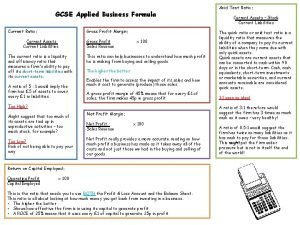 GCSE Applied Business Formula Gross Profit Margin Current