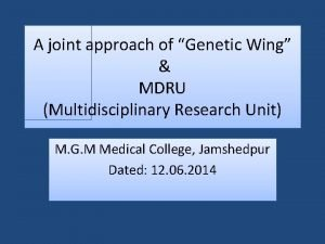A joint approach of Genetic Wing MDRU Multidisciplinary
