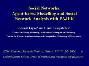 Social Networks Agentbased Modelling and Social Network Analysis