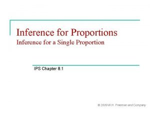 Inference for Proportions Inference for a Single Proportion