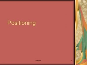 Positioning 1 Positioning in the market place At