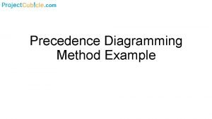Precedence Diagramming Method Example Precedence Diagramming Method PDM