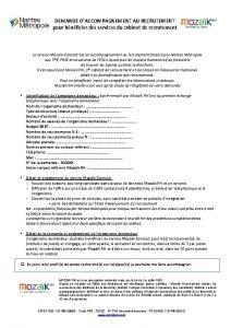 DEMANDE DACCOMPAGNEMENT AU RECRUTEMENT pour bnficier des services