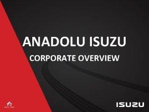 ANADOLU ISUZU CORPORATE OVERVIEW COMPANY PROFILE Company Name