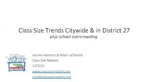 Class Size Trends Citywide in District 27 plus