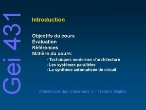 Gei 431 Introduction Objectifs du cours valuation Rfrences
