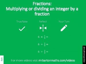 Fractions Multiplying or dividing an integer by a