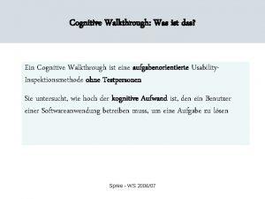 Cognitive Walkthrough Was ist das Ein Cognitive Walkthrough