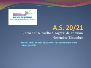 A S 2021 Corso online rivolto ai ragazzi