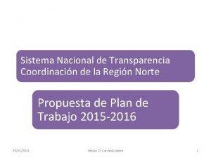 Sistema Nacional de Transparencia Coordinacin de la Regin