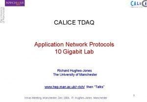 CALICE TDAQ Application Network Protocols 10 Gigabit Lab