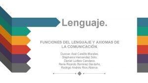 Lenguaje FUNCIONES DEL LENGUAJE Y AXIOMAS DE LA