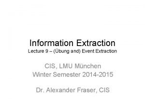 Information Extraction Lecture 9 bung and Event Extraction