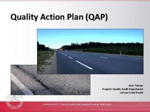 Quality Action Plan QAP Juris Tauri Projects Quality