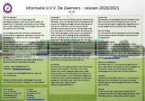 Informatie IJ V V De Zwervers seizoen 20202021