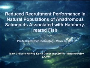 Reduced Recruitment Performance in Natural Populations of Anadromous