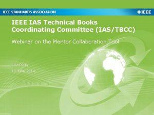 IEEE IAS Technical Books Coordinating Committee IASTBCC Webinar