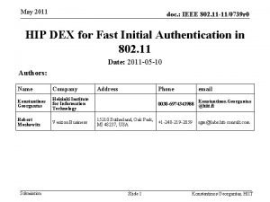May 2011 doc IEEE 802 11 110739 r
