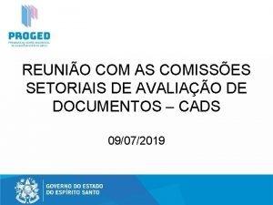 REUNIO COM AS COMISSES SETORIAIS DE AVALIAO DE