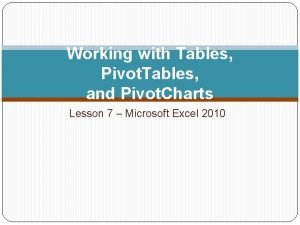 Working with Tables Pivot Tables and Pivot Charts