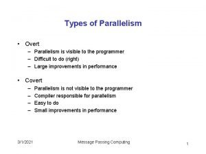Types of Parallelism Overt Parallelism is visible to