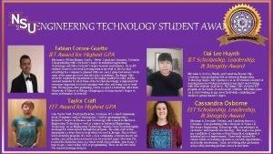 2019 ENGINEERING TECHNOLOGY STUDENT AWARDS Fabian CorreaGuette IET