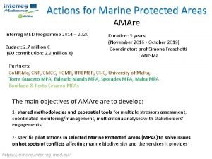 Actions for Marine Protected Areas AMAre Interreg MED