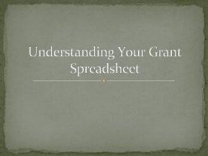 Understanding Your Grant Spreadsheet Spreadsheet Information The grant