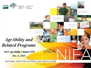 Agr Ability and Related Programs 2015 Agr Ability