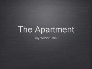 The Apartment Billy Wilder 1960 Billy Wilder Over