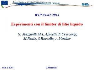 WIP 03022014 Esperimenti con il limiter di litio