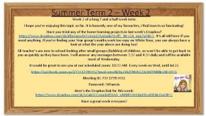 Summer Term 2 Week 2 of a long