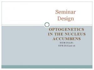 Seminar Design OPTOGENETICS IN THE NUCLEUS ACCUMBENS SEMINAR