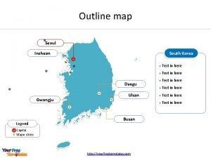 Outline map Seoul South Korea Incheon Daegu Gwangju