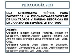 PEDAGOGA 2021 UNA ALTERNATIVA POTICA PARA FAVORECER LA