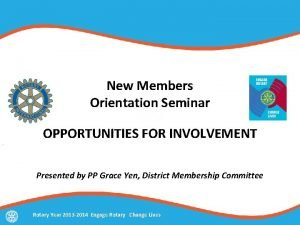 New Members Orientation Seminar OPPORTUNITIES FOR INVOLVEMENT Presented