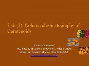 Lab 3 Column chromatography of Carotenoids T A
