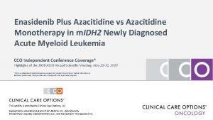 Enasidenib Plus Azacitidine vs Azacitidine Monotherapy in m