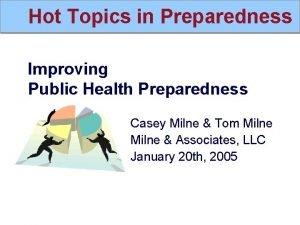Hot Topics in Preparedness Improving Public Health Preparedness