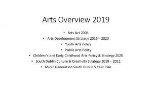 Arts Overview 2019 Arts Act 2003 Arts Development