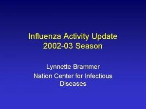 Influenza Activity Update 2002 03 Season Lynnette Brammer
