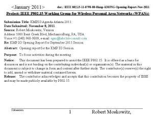 January 2011 doc IEEE 802 15 11 0798